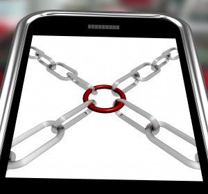Chains Joint On Smartphone Shows Secure Link And Strength