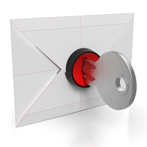 Envelope And Key Showing Safe And Secure Email